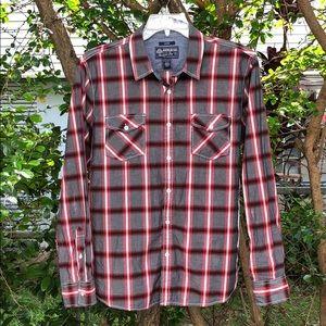 AMERICAN RAG Long Sleeve Plaid Cotton Shirt L